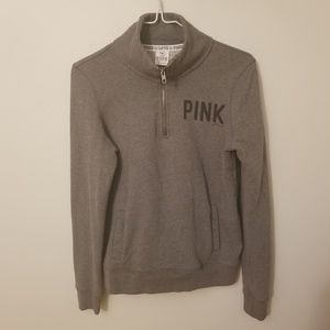 Gray VS Pink three-quarter zip